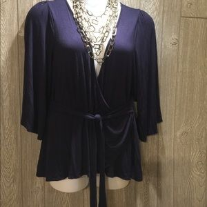 Plus size 1x flax wrap blouse navy blue